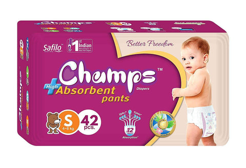 0950 Premium Champs High Absorbent Pant Style Diaper Small Size, 42 Pieces (950_Small_42) - DeoDap