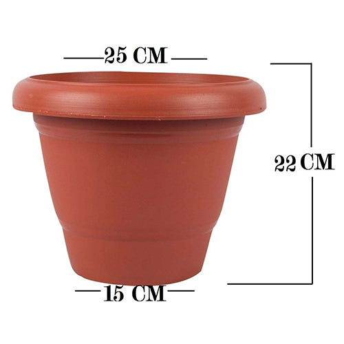0822 Garden Heavy Plastic Planter Pot/Gamla  (Brown, Pack of 1)