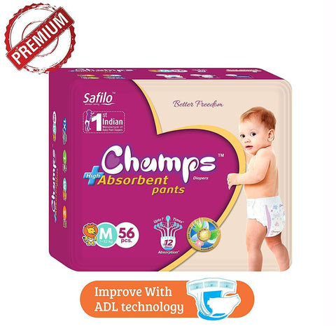 0952 Premium Champs High Absorbent Pant Style Diaper Medium Size, 40 Pieces (952_Medium_40) - DeoDap