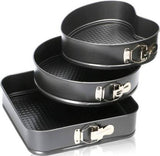 2126 Cake Mould Pan Set Baking Tray Removable Cake Mould Black (3 Pack)