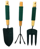 1505 Gardening Tool Wood Handle Cultivator Trowel Forks Tool Set (3 pack)