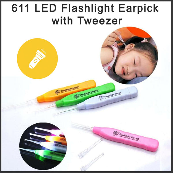 0611 LED Flashlight Earpick with Tweezer