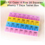 0383 Pill Case- 4 Row 28 Squares Weekly 7 Days Tablet Box Holder Medicine Storage Organizer Container