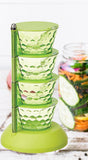 2141 4 in 1 Multipurpose 360 Degree Rotating Pickle Rack Container for Kitchen - DeoDap