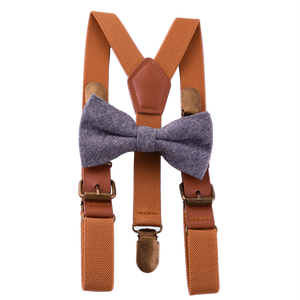 Faux Leather Suspender Bow Tie Pack Chambray