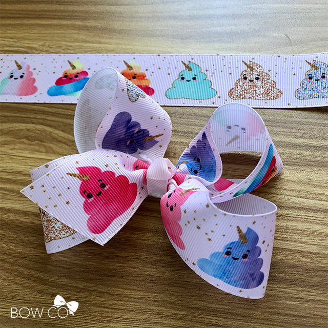 Kawaii Unicorn Emoji Poop Boutique Bow