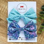 Everly Blue Floral Bow Set