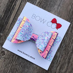 Embossed Holographic Iridescent Mermaid Double Ivy Bow