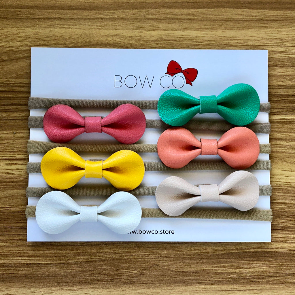 Faux Leather Round Bow Nylon Headband