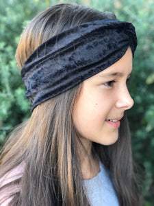 Black Crushed Velvet Twist Headband