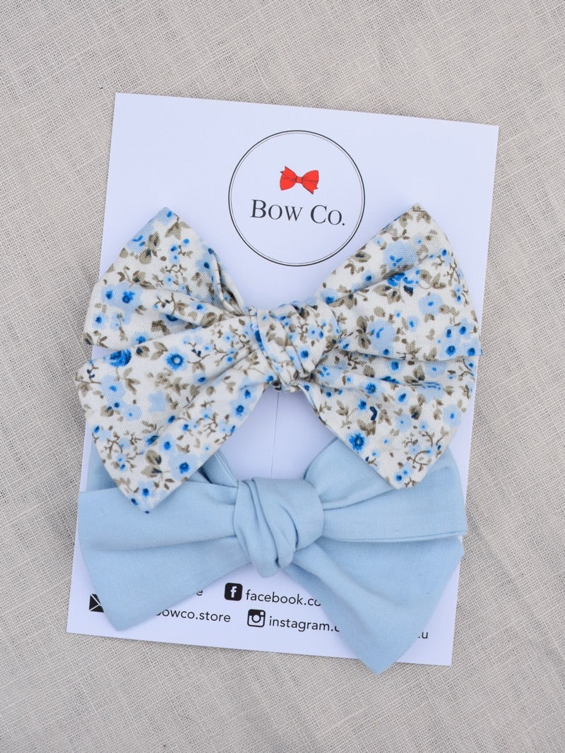 2pk Willow Fabric Bows - Blue Floral