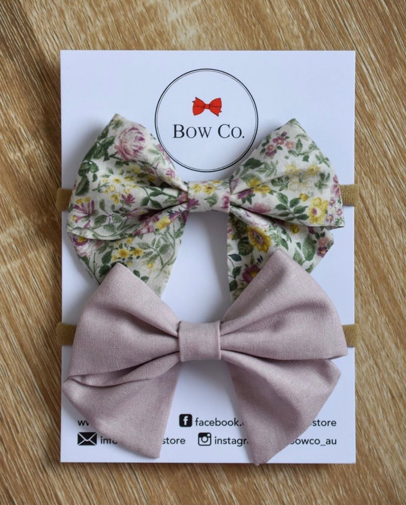Everly Dusty Mauve Floral Fabric Bows