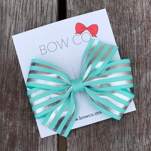 Tiffany Foil Stripe Grosgrain Ribbon Hair Bow