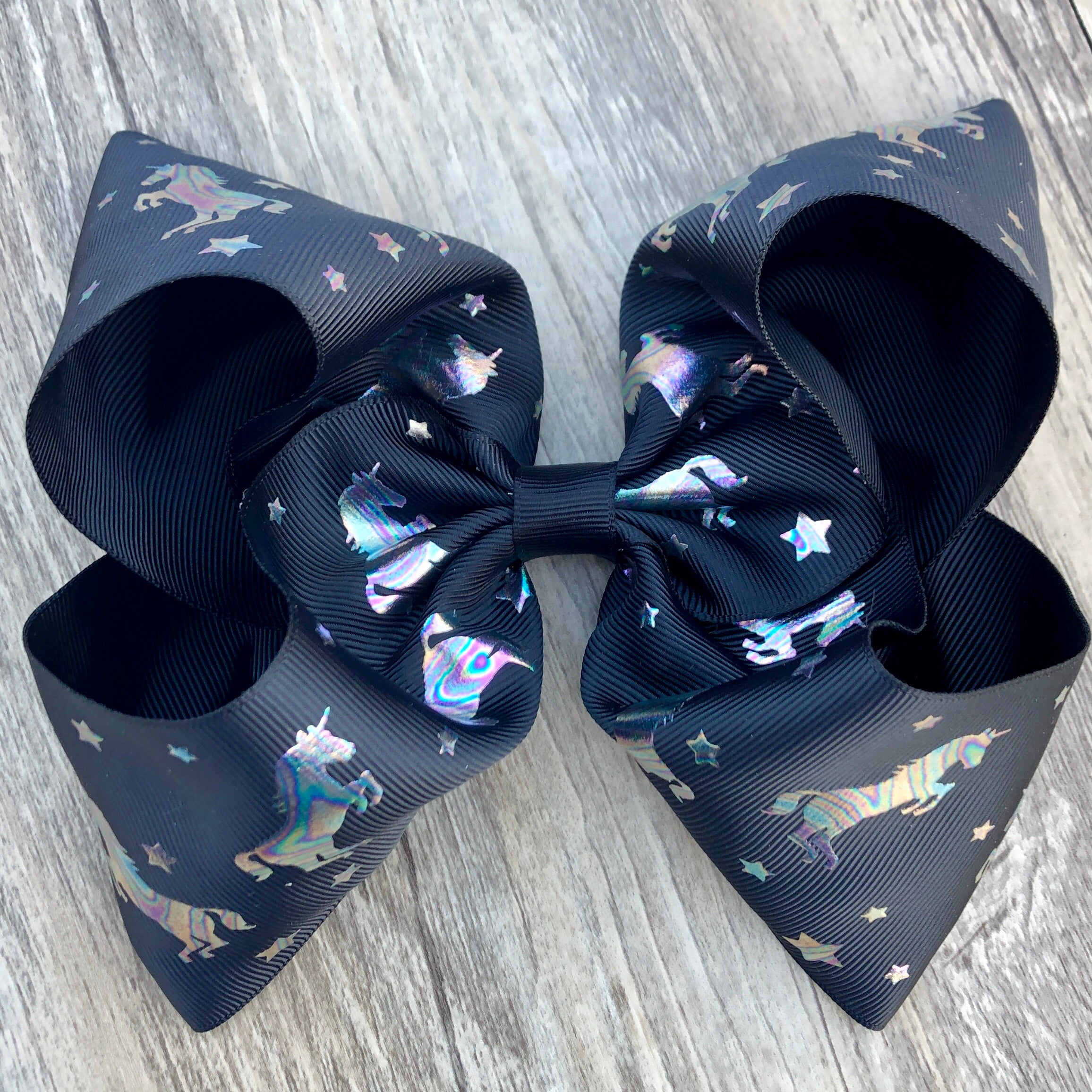 Black Holographic Unicorn Boutique Bow