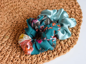 Teal Luxe Floral and Satin Scrunchie Set