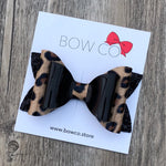 Patent Leather Leopard Print Double Ivy Bow