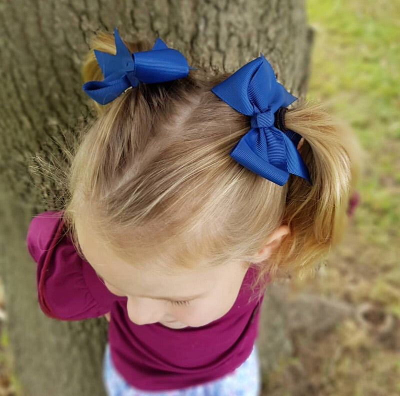 Pigtail Pair Grosgrain Ribbon Hair Bows