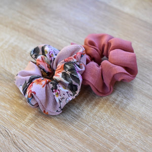 Dusty Pink Floral and Textured Rayon Scrunchie Set