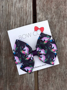 Unicorn Plum Pinwheel Grosgrain Ribbon Hair Bow