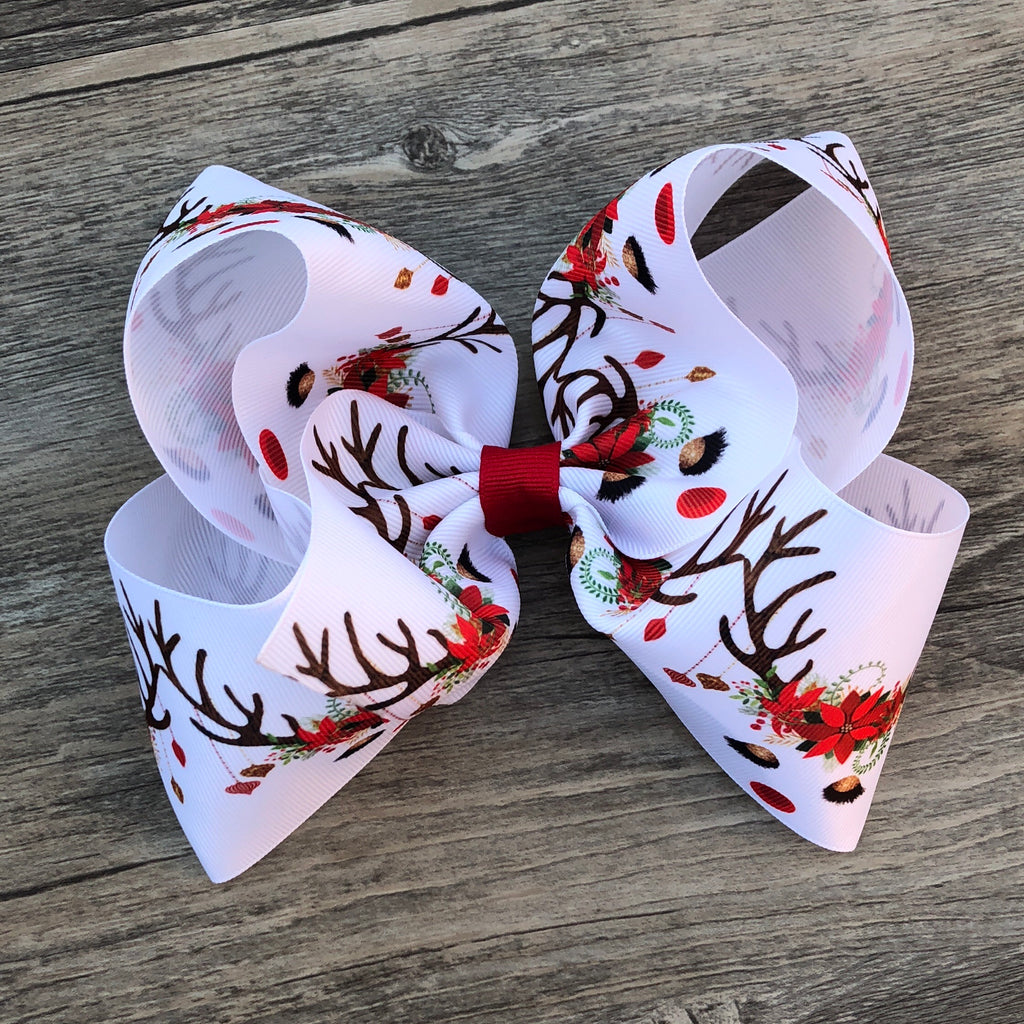 Christmas Reindeer Boutique Bow