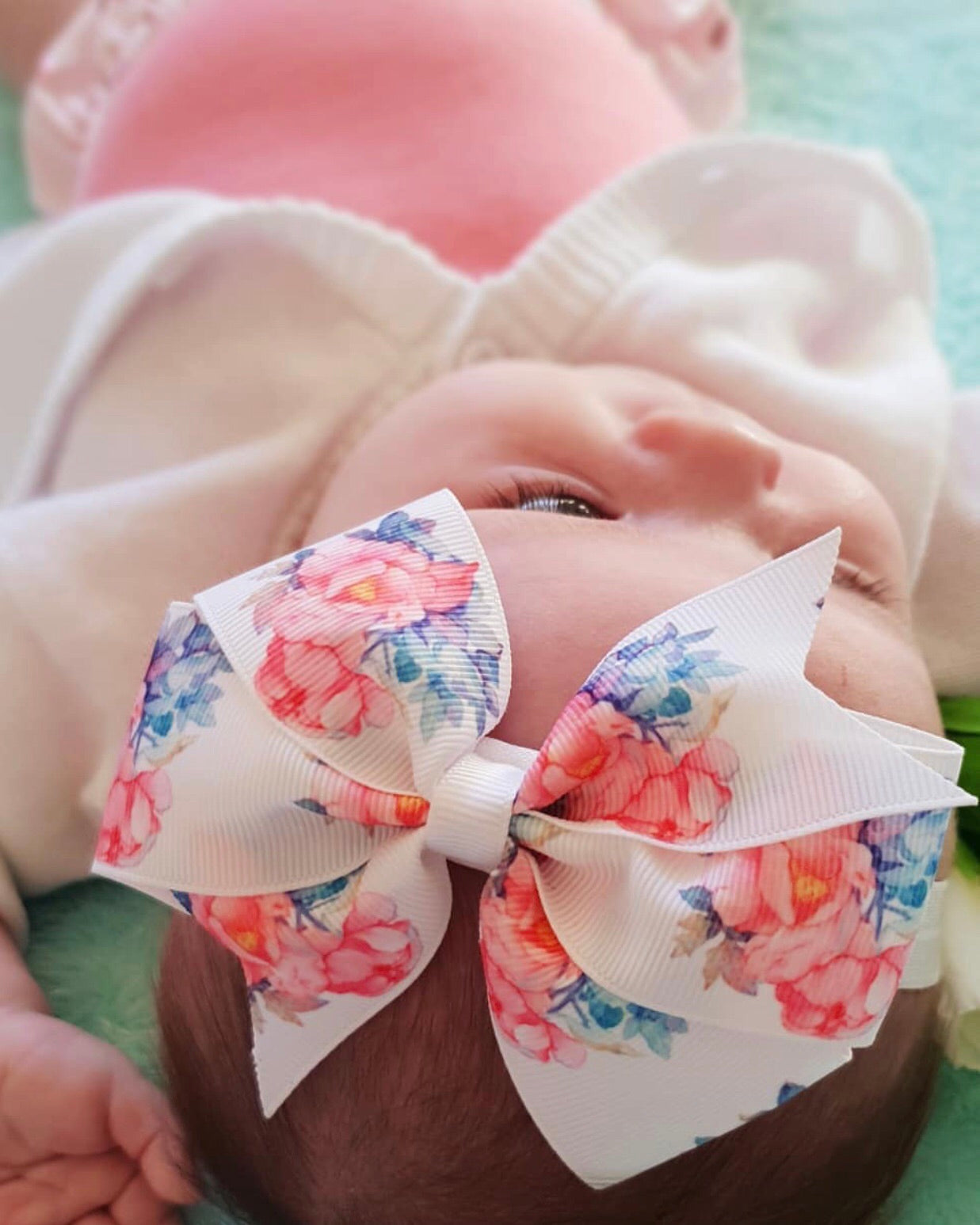 Peony Pinwheel Grosgrain Ribbon Hair Bow