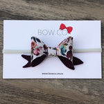 Plum Floral Fabric French Bow