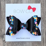 Black Patent Floral Double Ivy Bow