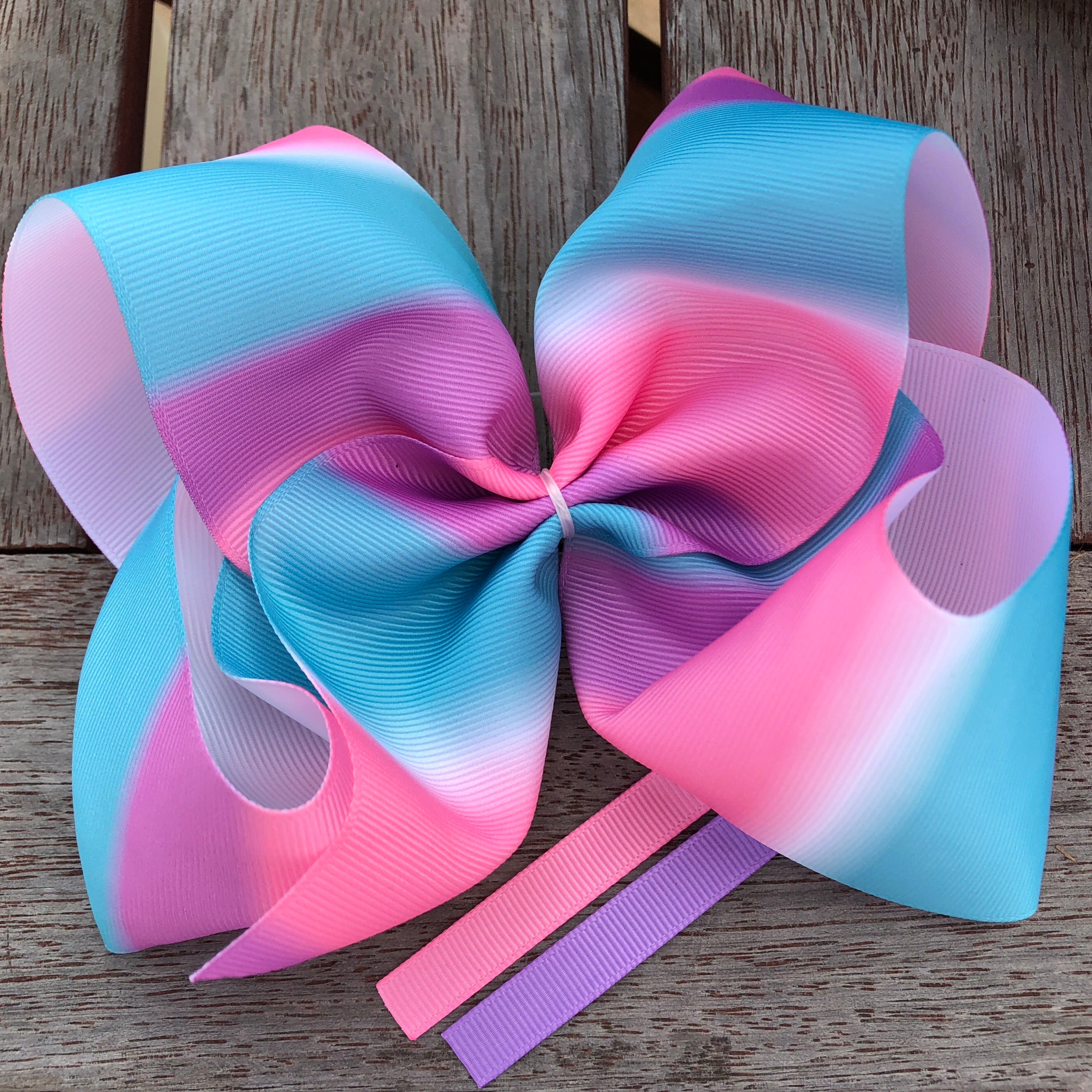 Jumbo Teal, Pink, Mauve Boutique Gradient Grosgrain Hair Bow