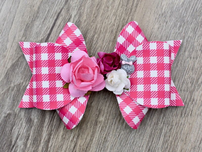 Floral Gingham Easter Bow