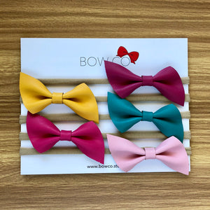 Faux Leather Z Bow Nylon Headband