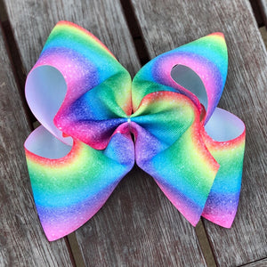 Jumbo Space Rainbow Grosgrain Ribbon Hair Bow