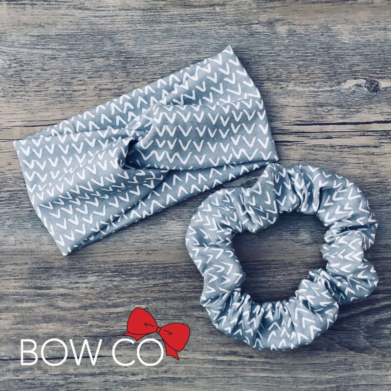 Grey Print Luxe Twist Headband