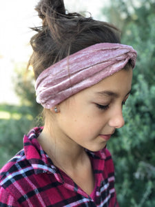 Dusty Pink Crushed Velvet Luxe Twist Headband