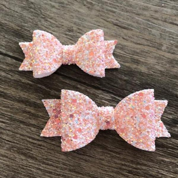 Faux Leather Glitter Bows