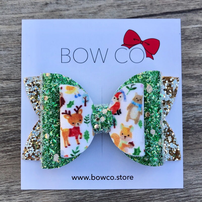Woodland Animals Christmas Bow