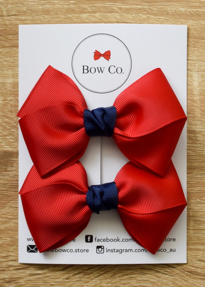 Audrey Two Tone Pigtail School Bows