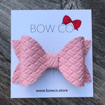 Blush Weave Faux Leather Ivy Bow