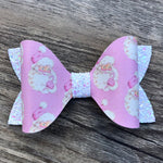 Retro Santa Faux Leather Bow