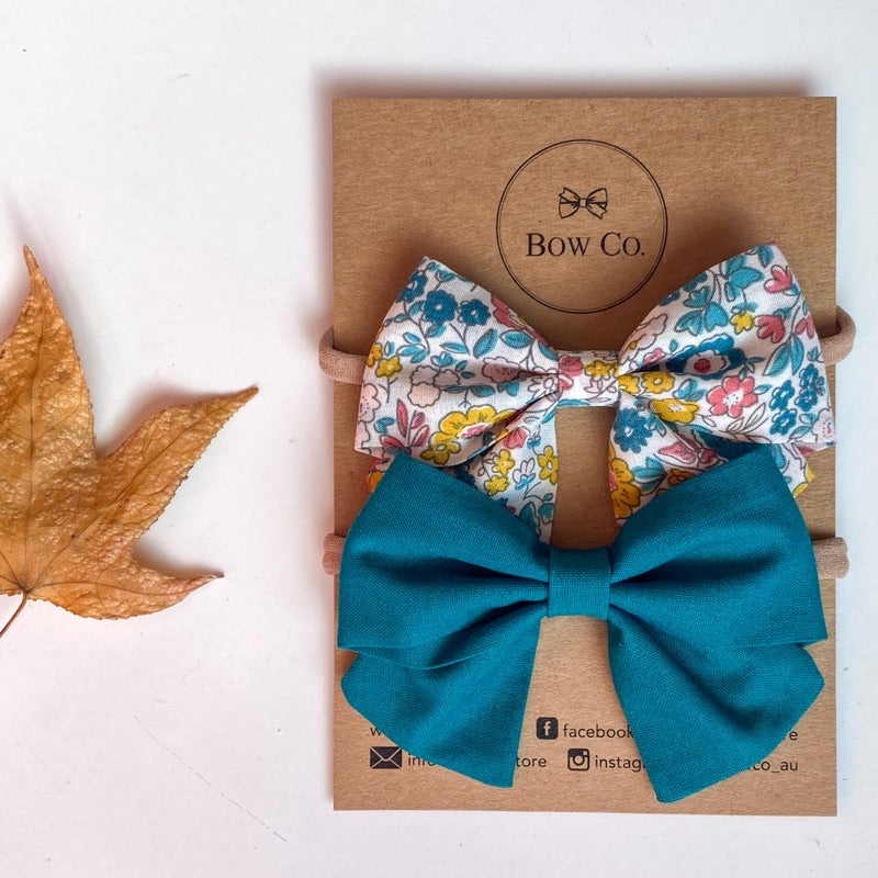 Everly Teal Floral Bow Set