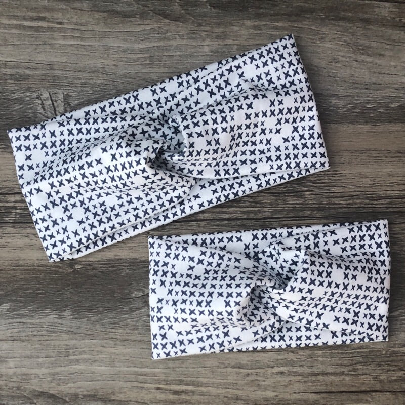 Navy Print Luxe Twist Headband