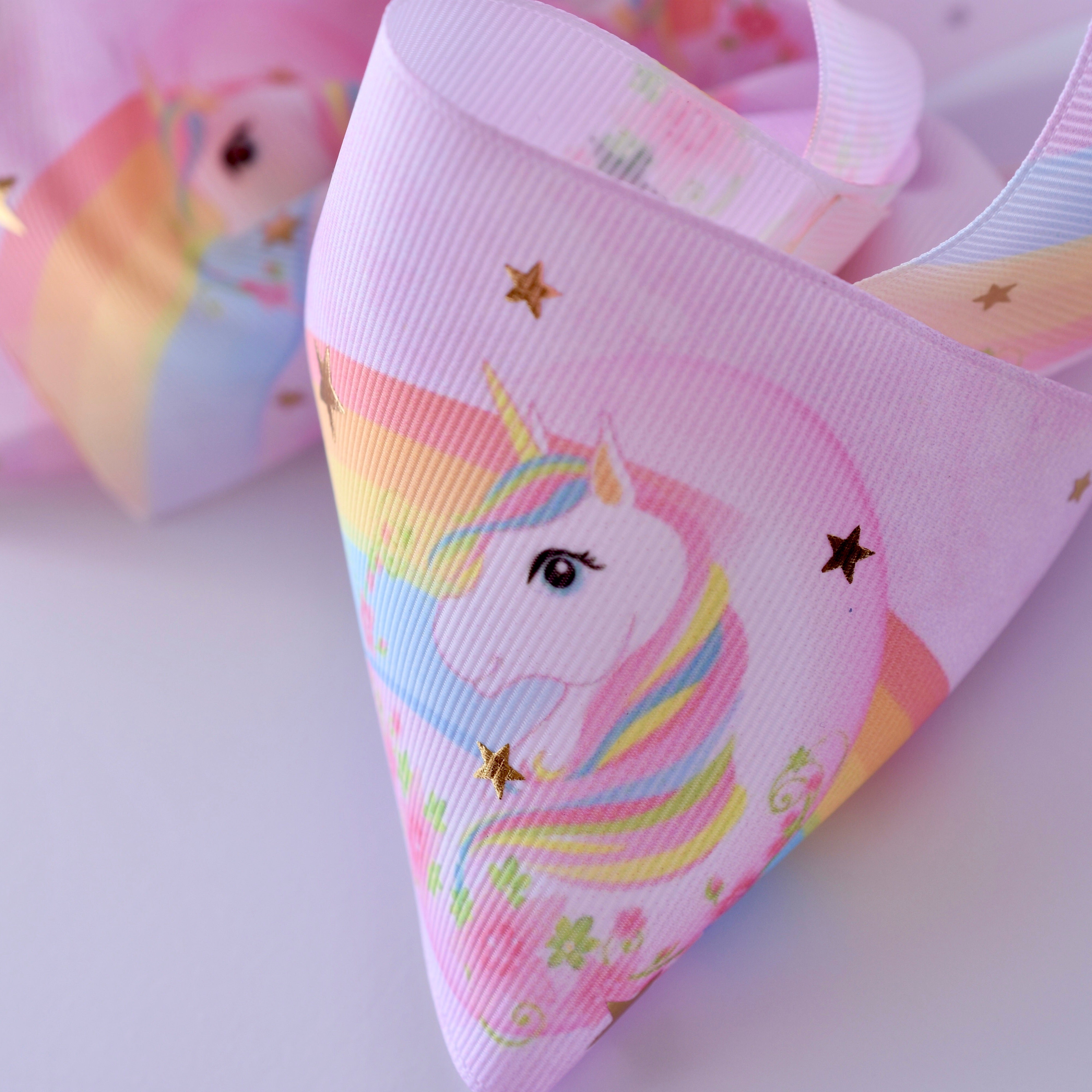 Gold Star Rainbow Unicorn Boutique Grosgrain Ribbon Hair Bow