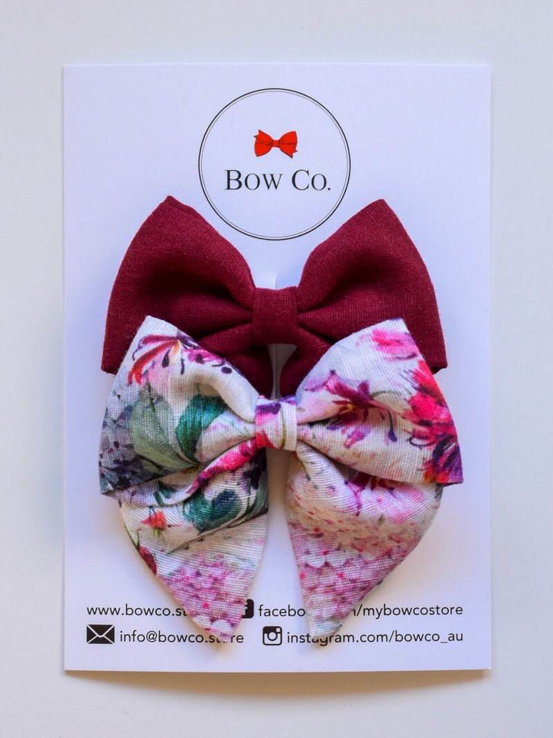 Everly Rosewood Floral Fabric Bows