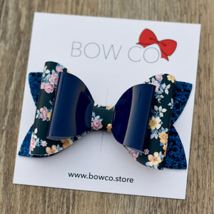 Navy Patent Floral Double Ivy Bow