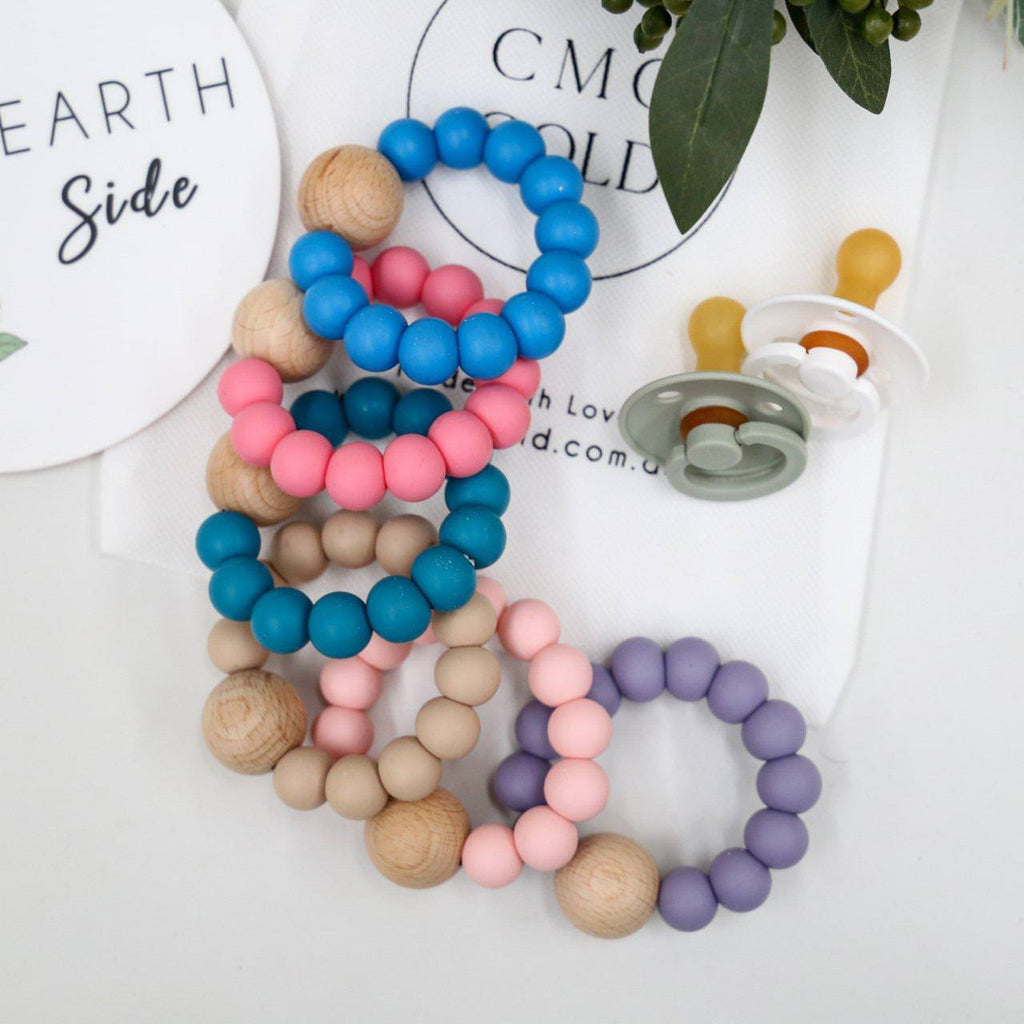 Beech Wood & Silicone Teether-Wooden Teether-CMC Gold