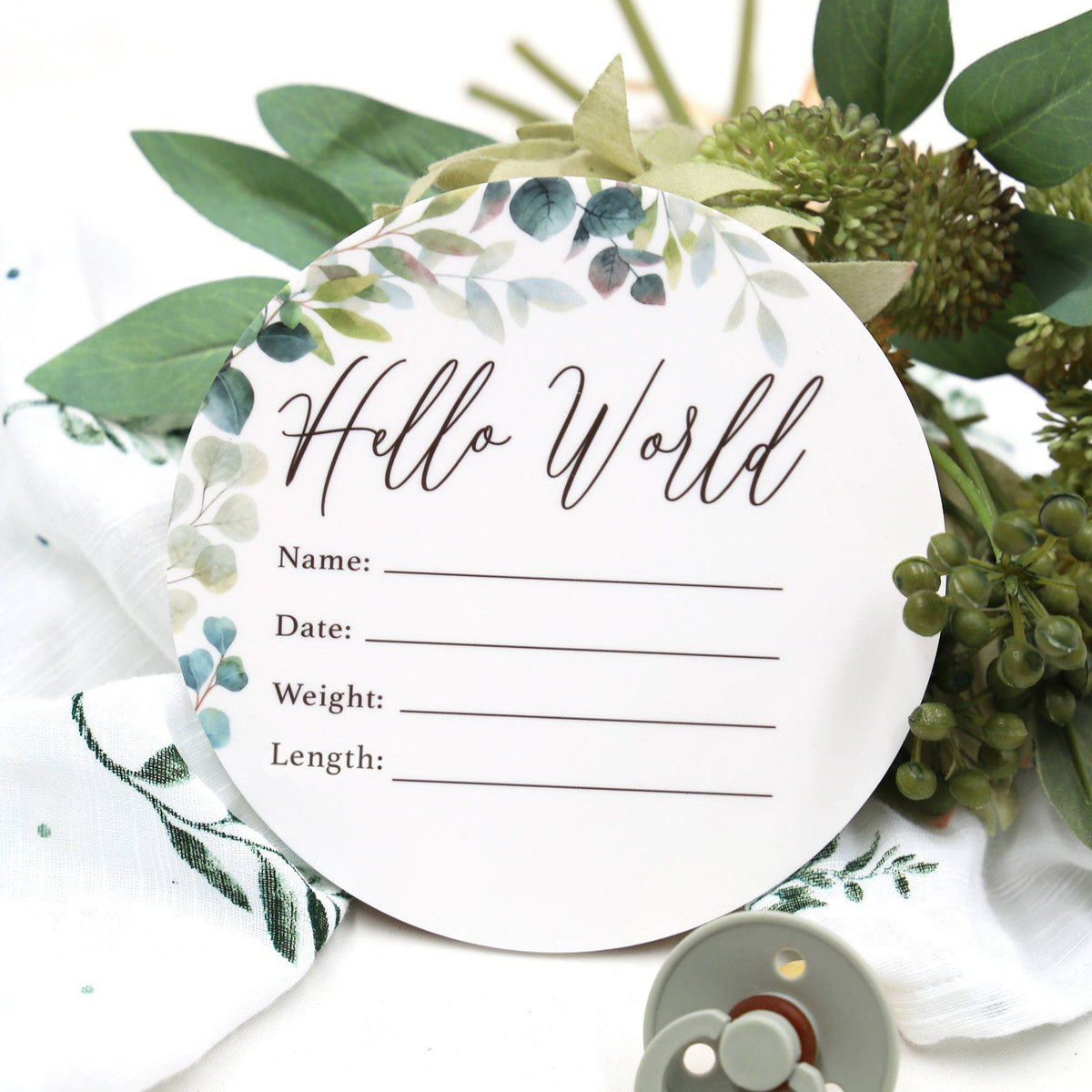 Birth Announcement Card- Hello World Leafy Foliage