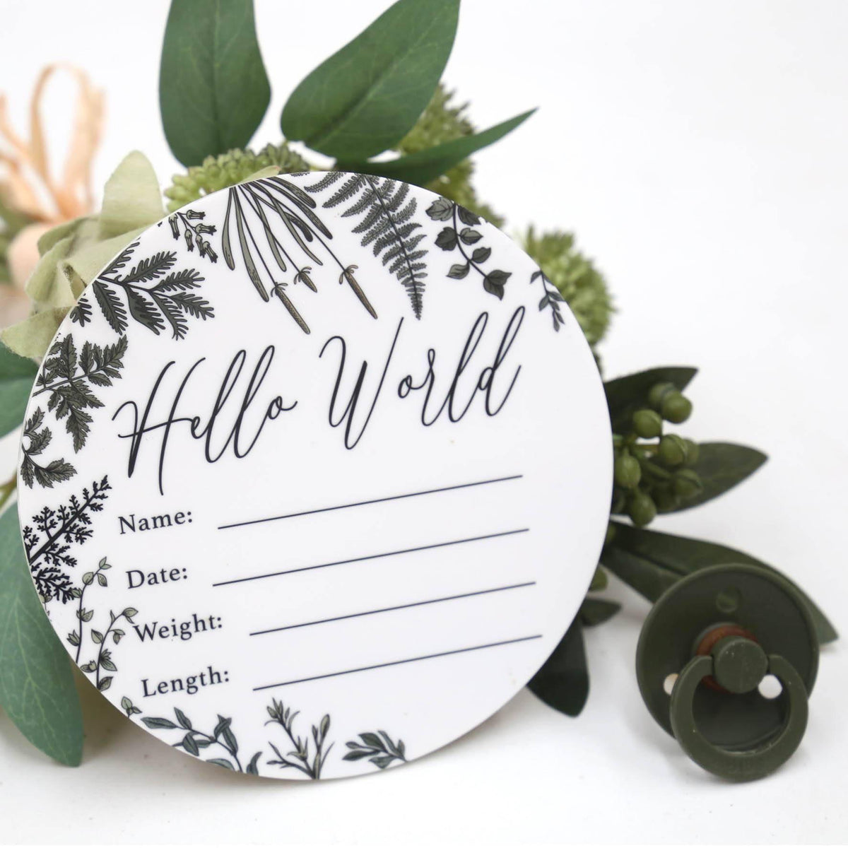 Birth Announcement Card- Hello World White Acrylic Printed Wild Leaf-Birth Announcement-CMC Gold