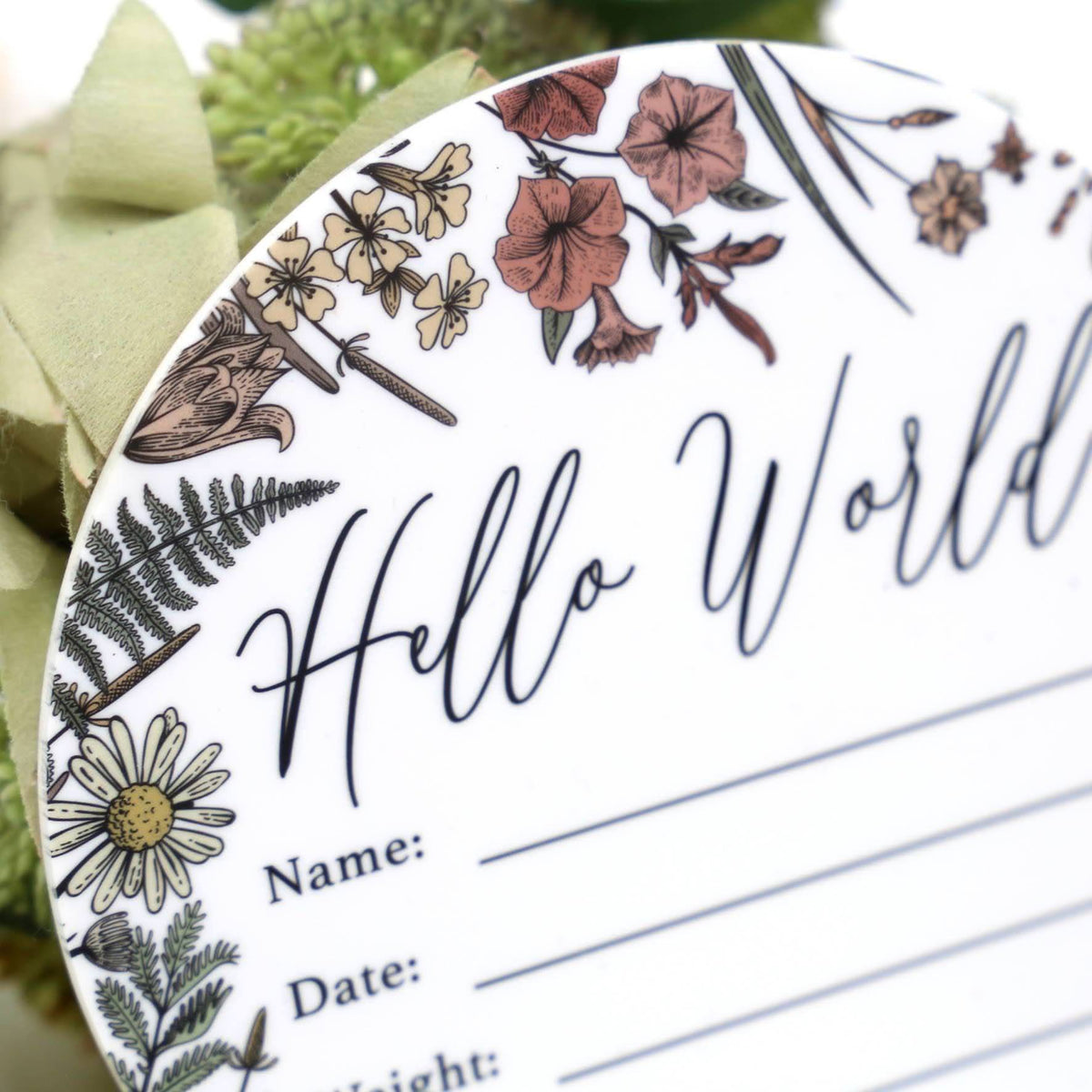 Birth Announcement Card- Hello World White Acrylic Printed Wildflower