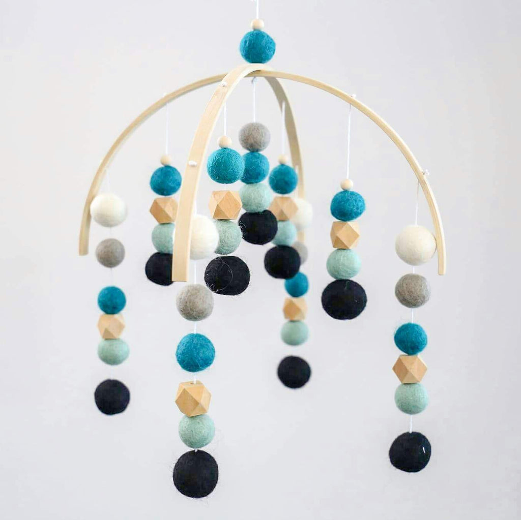 Black, Mint, Turquoise, Grey, White, Raw Hex Felt Ball Mobile-Felt Ball Mobile-CMC Gold