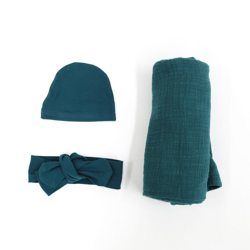 Blanket Swaddle Set - Teal-Swaddles-CMC Gold