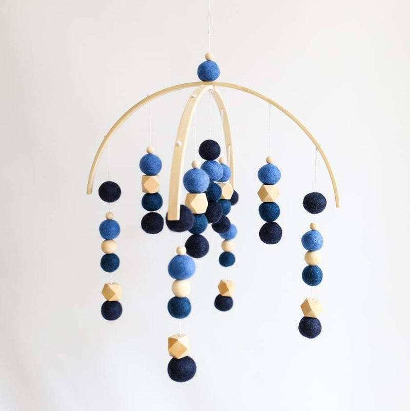 Blues Deluxe, Raw Beaded Felt Ball Mobile-Felt Ball Mobile-CMC Gold